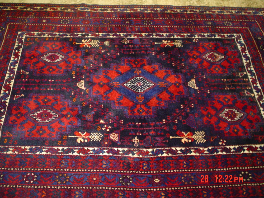 #3) 5 x 7'8' Persian Afshar in deeply saturated colors. Additional photo below in the last row.