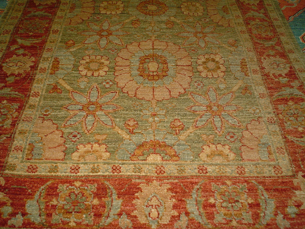 #2) 3 x 13 Tabriz runner. Afghanistan Finely woven runner in a pale avocado green.