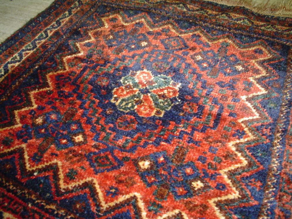 """#7) Gorgeous old small Persian Qashqai rug. 3'2"""" X 3'3"""" Sold."""