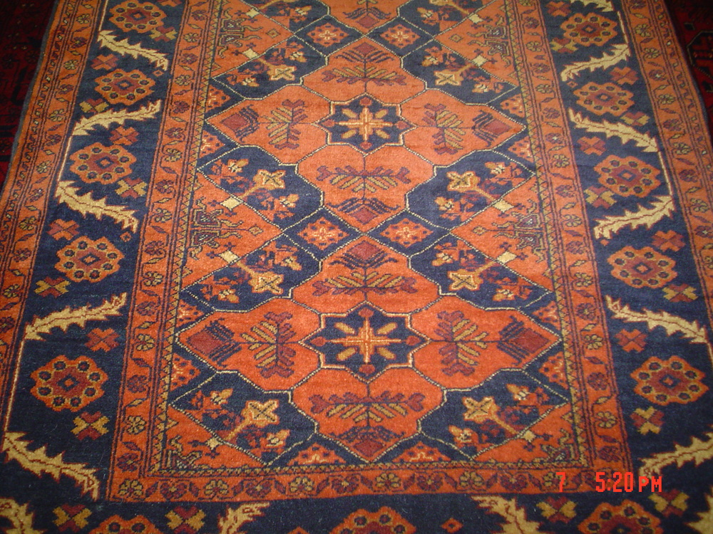 """#13) 3'6"""" x 5'1"""" Afghan rug. Sturdy, affordable and pretty. On approval."""