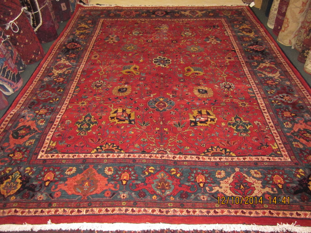 """#17) 8'2"""" x 10'8"""" Bijar. Tribal rendition of the Shah Abbas Design. Persian Bijar, woven with plant based dyes and hand spun wool. Heavy body, finely woven, beautiful colors. Please call for price."""