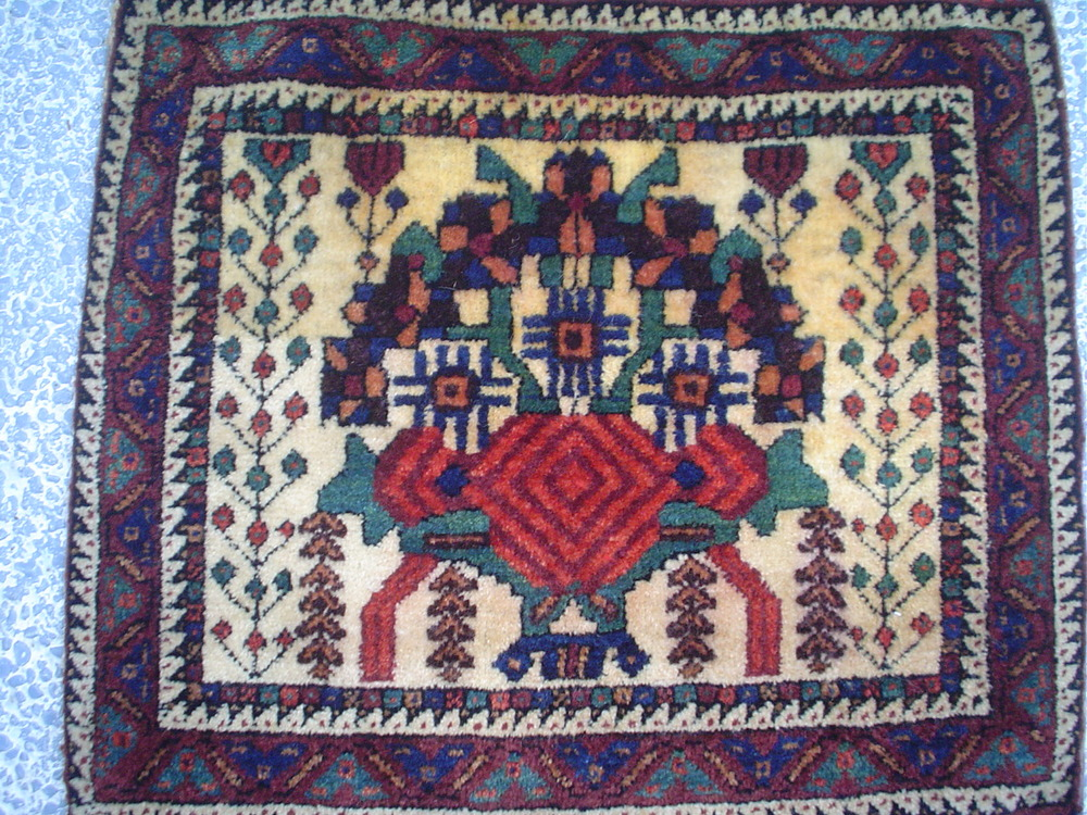 """#21) Antique Afshar bag-face. 1'5"""" x 1'5"""" Early 20th C. Finely woven."""