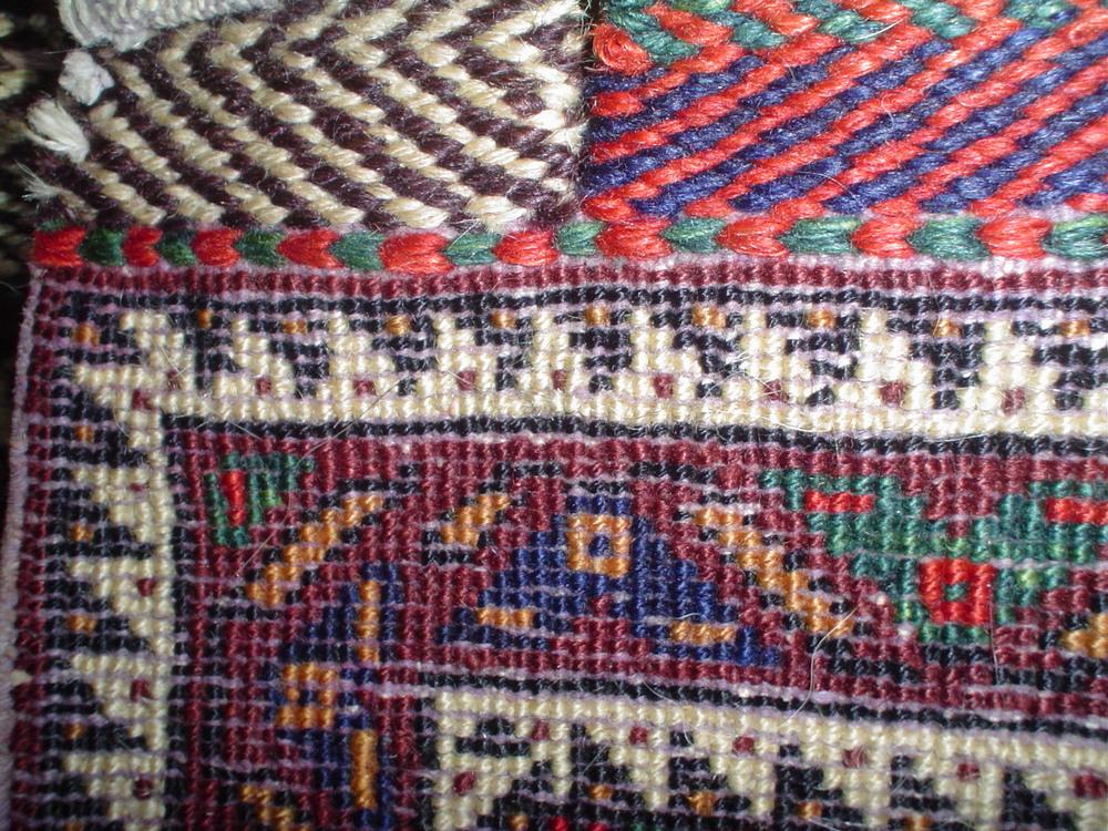 #19b) Afshar bag face, back of the weaving.