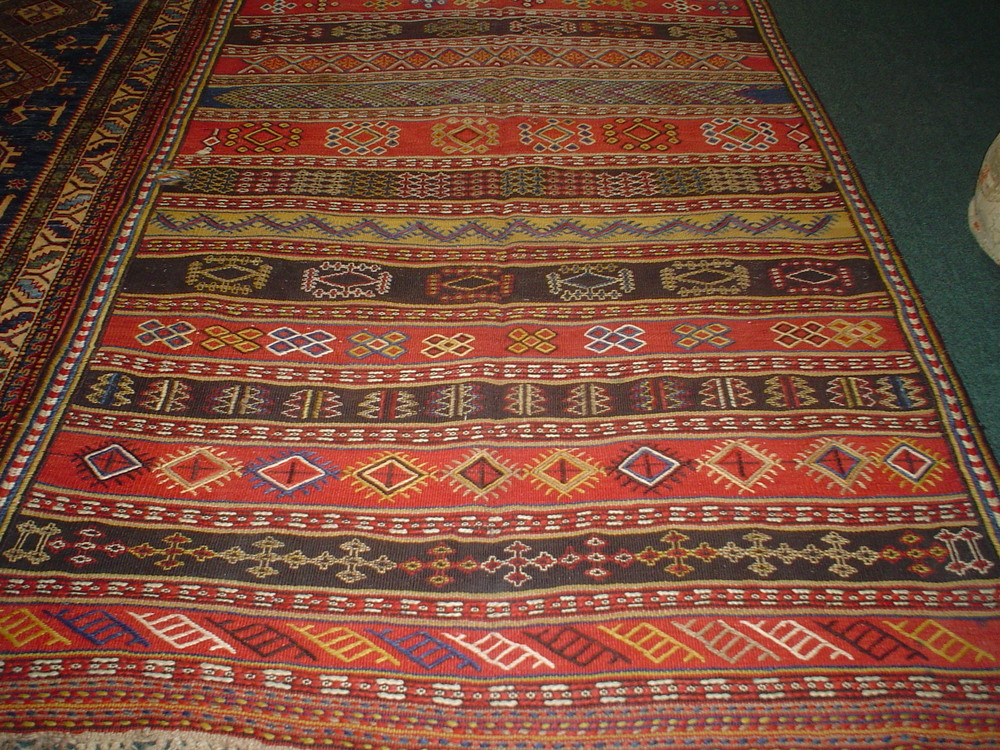 """#32) 4'10"""" x 10'9"""". Old Quchan kilim, very good condition."""