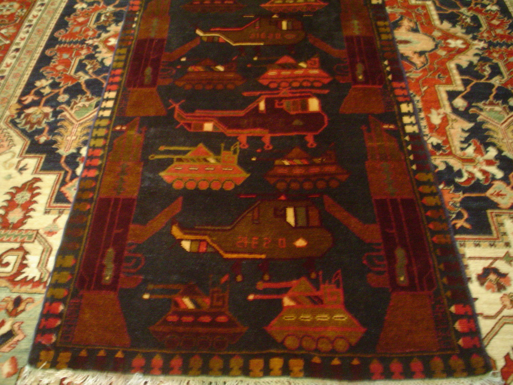 "#23) Afghan War Rug, 3'4"" x 5'5"" Very unusual navy background. Great condition!"