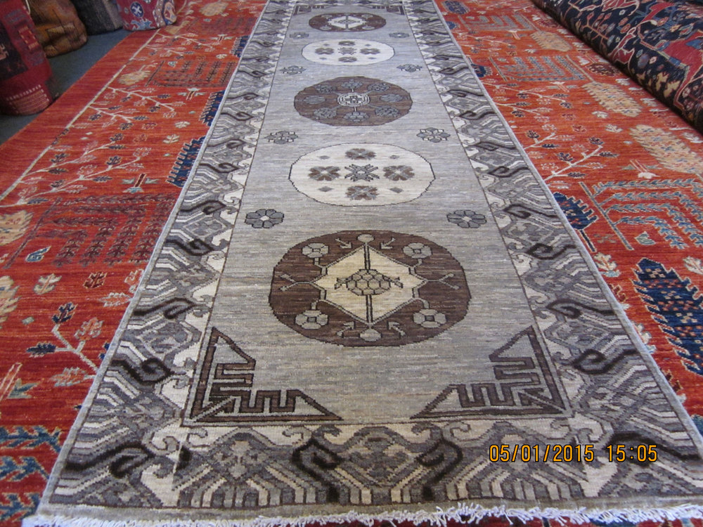 "#26) 2'11"" x 9'6"" lovely Afghan runner is East Turkestan design."