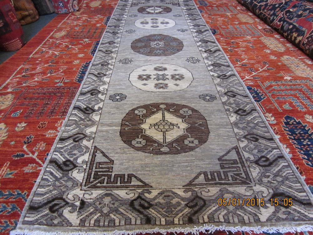 """#29) 2'11"""" x 9'6"""" lovely Afghan runner is East Turkestan design."""