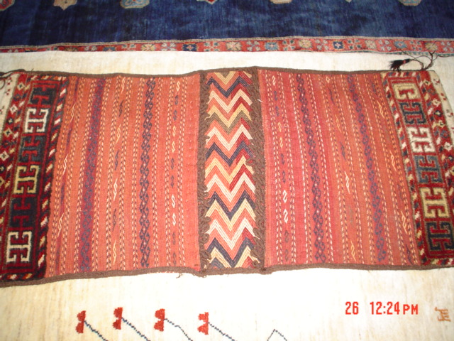 #19: Unique old Balouch saddle bag, flat-weave and pile combined.