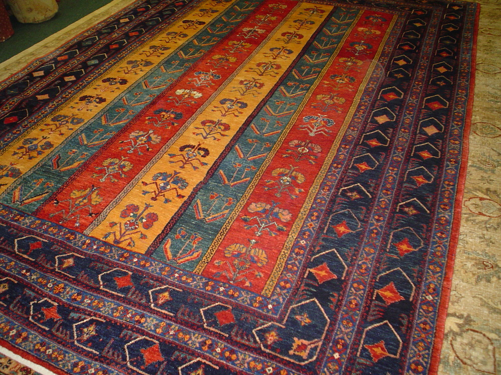 """#31: 6' 7"""" x 9' 5"""" Persian Qashqai rug in sparkling jewel tones, woven with luscious wool!"""