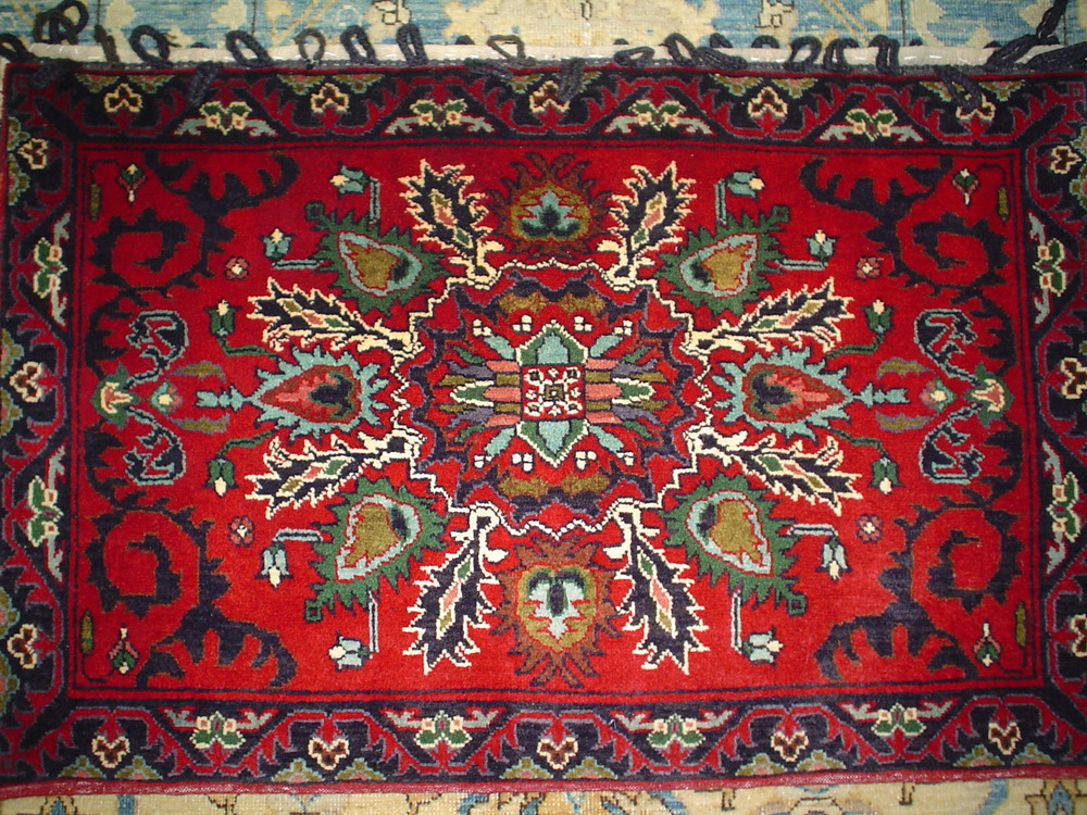 #34: Beautiful large hand woven rug pillow. Old Tabriz design, very tightly woven. Available for sale.