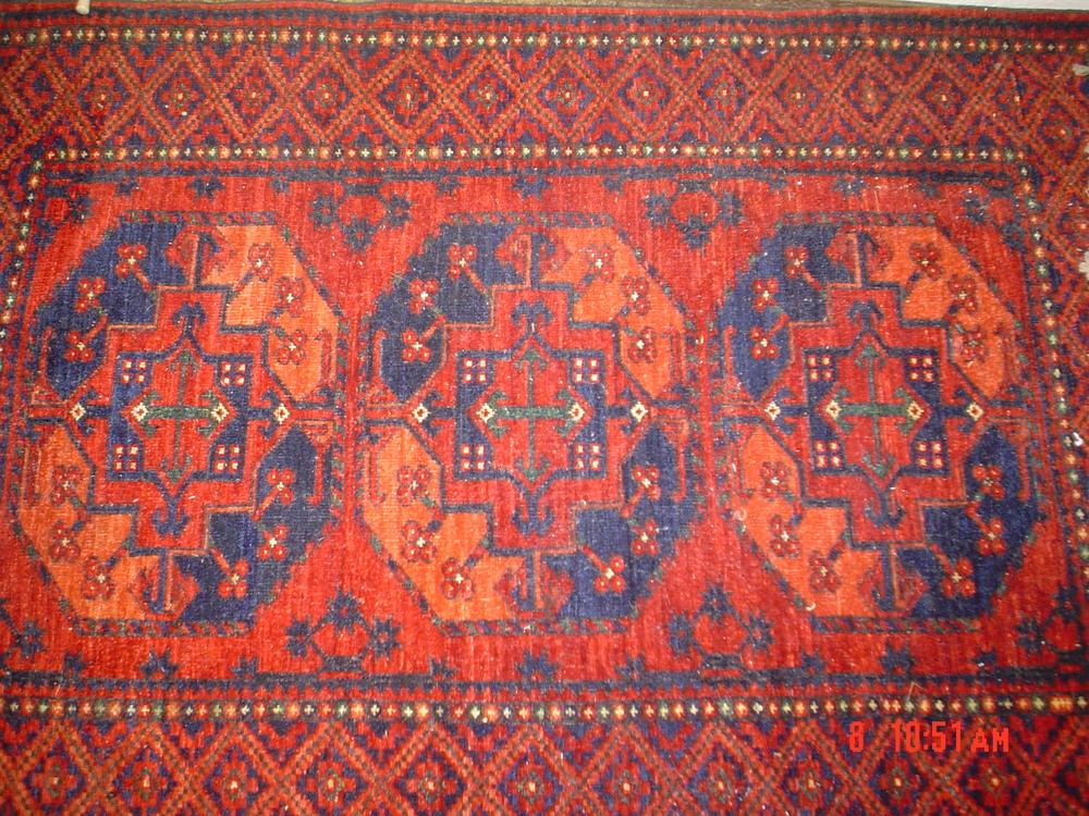 #35: 4 x 6 Ersari Turkoman, veg dyes, hand-spun wool.
