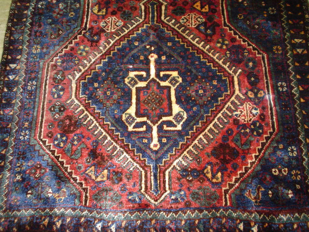 "#37: 3'6"" x 3'1"" Qashqai old Persian tribal rug, with animals and chickens!"