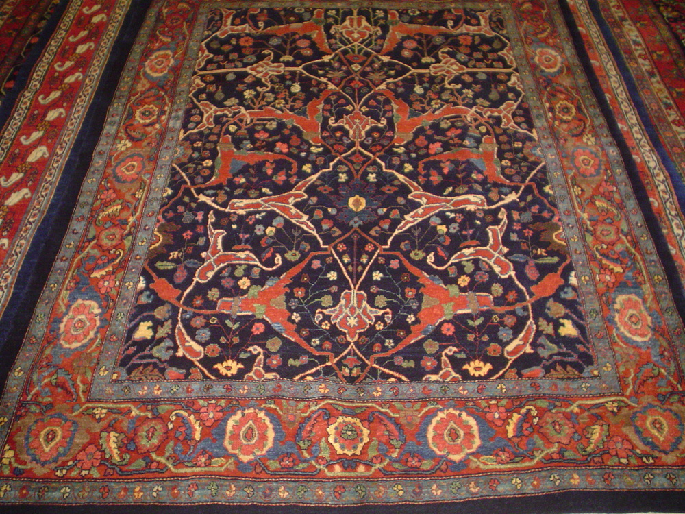 "#42: 5'3 x 7"" Persian Bijar, Garrus design. New rug woven in an antique design in deeply saturated colors."