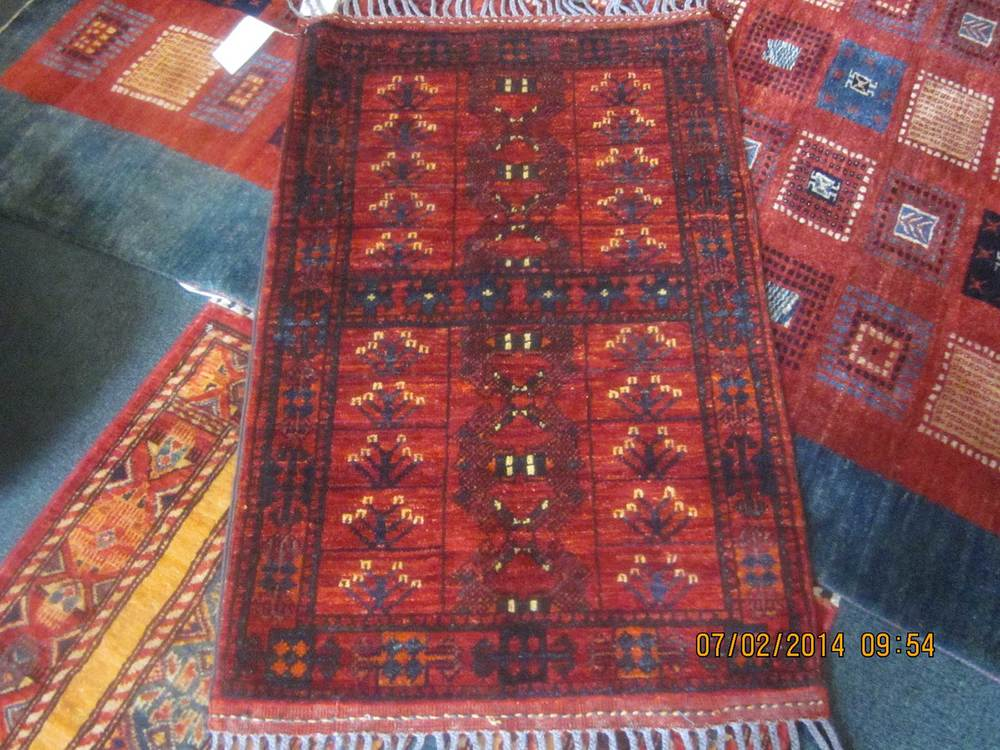 "#47: Small Ersari Turkoman rug. 2'2"" x 3'4"". Great depth of color, beautiful wool. A winner!"