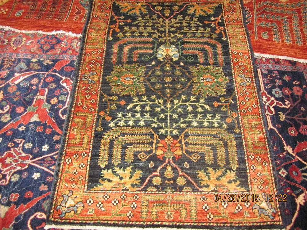 #48: 3 x 4 Lovely Afghan Tree of Life Afghan rug.