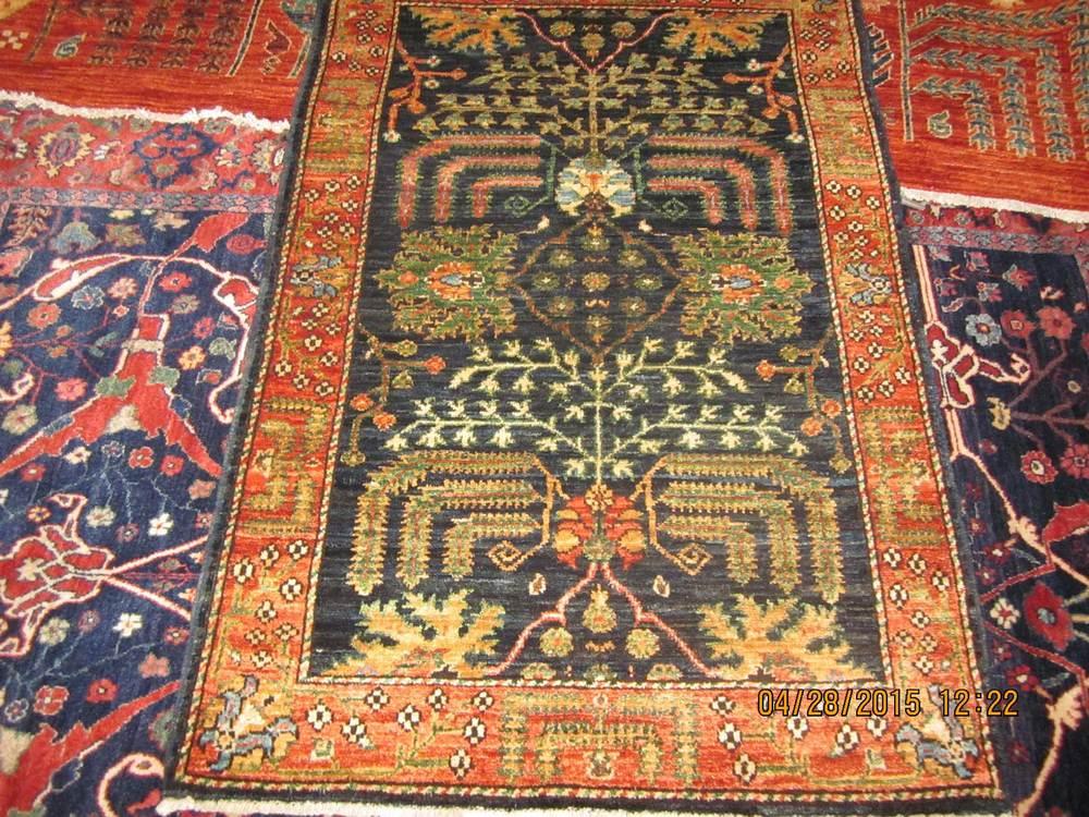 #48: 3 x 4 Lovely Afghan Tree of Life Afghan rug.