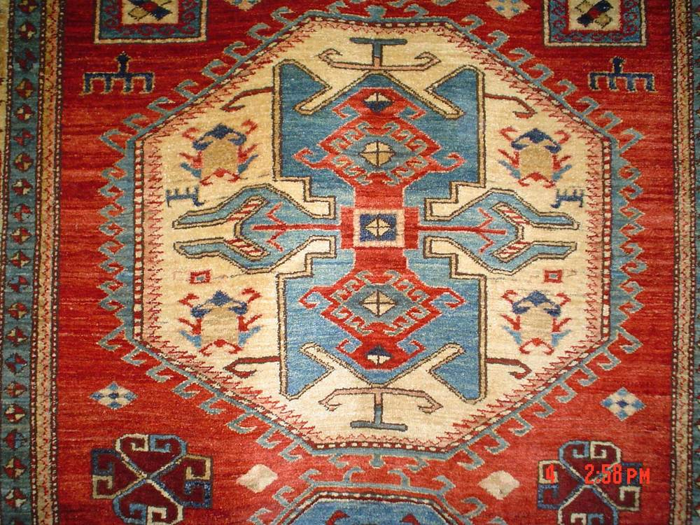 #5: Beautiful veg dyed 5 x 7 Afghan Kazak. Sold.