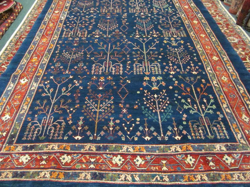"#19: 6'10"" x 9'9"" Navy Tree of Life, Southern Iran. Khamsehbaf (see ARTICLES page.) Sold."