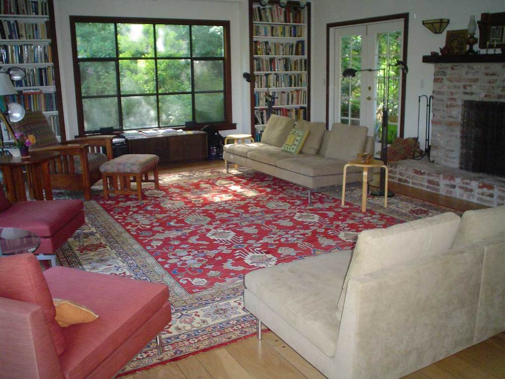 #21: Tribal Kazak carpet with mid-Century furniture. 12 x 14 Kazak carpet, woven in Afghanistan.