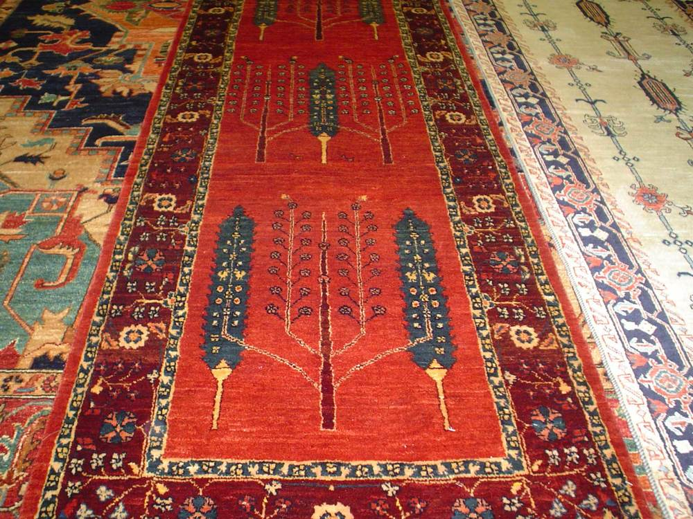 "#22: 2'7 x 12'3"" Luri runner with Cypress trees and a Tree of Life design. Sold."