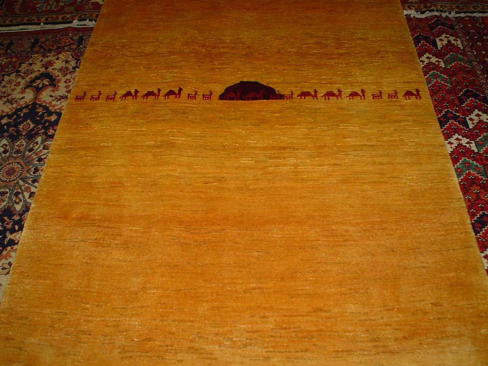 "#24: 4'1"" x 5'9"" Gabbeh with camels in yellow with red accents."