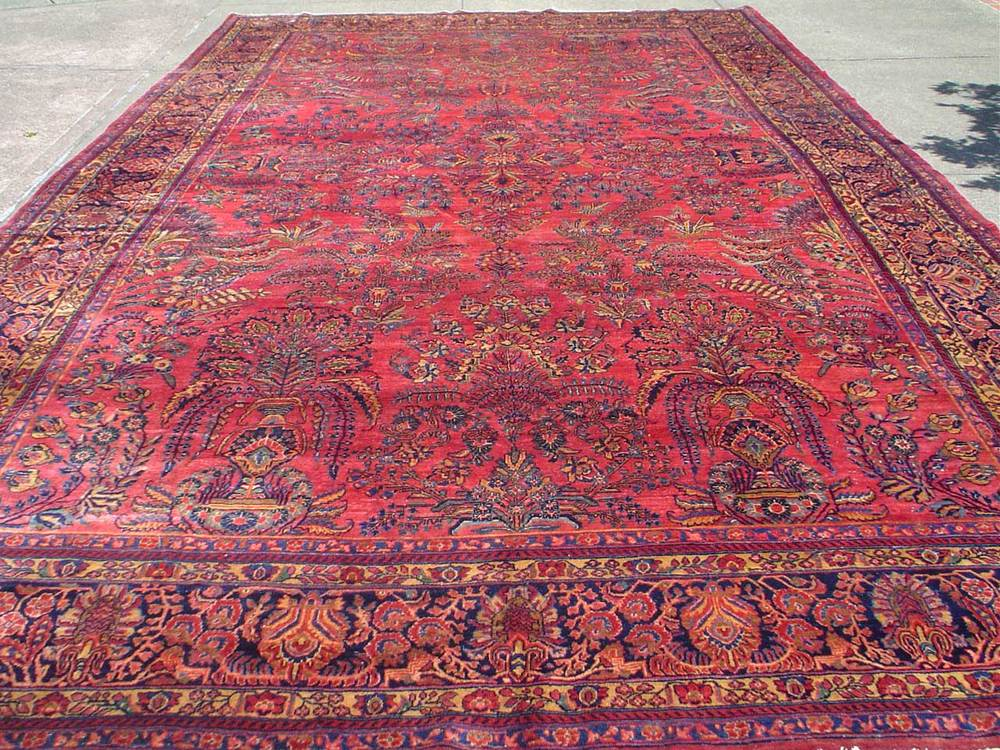 "#26: 10'2"" x 16'4"" Antique Persian Sarouk. For details, see my video of this piece. Link in ARTICLES or on my LINKs page. Sold."