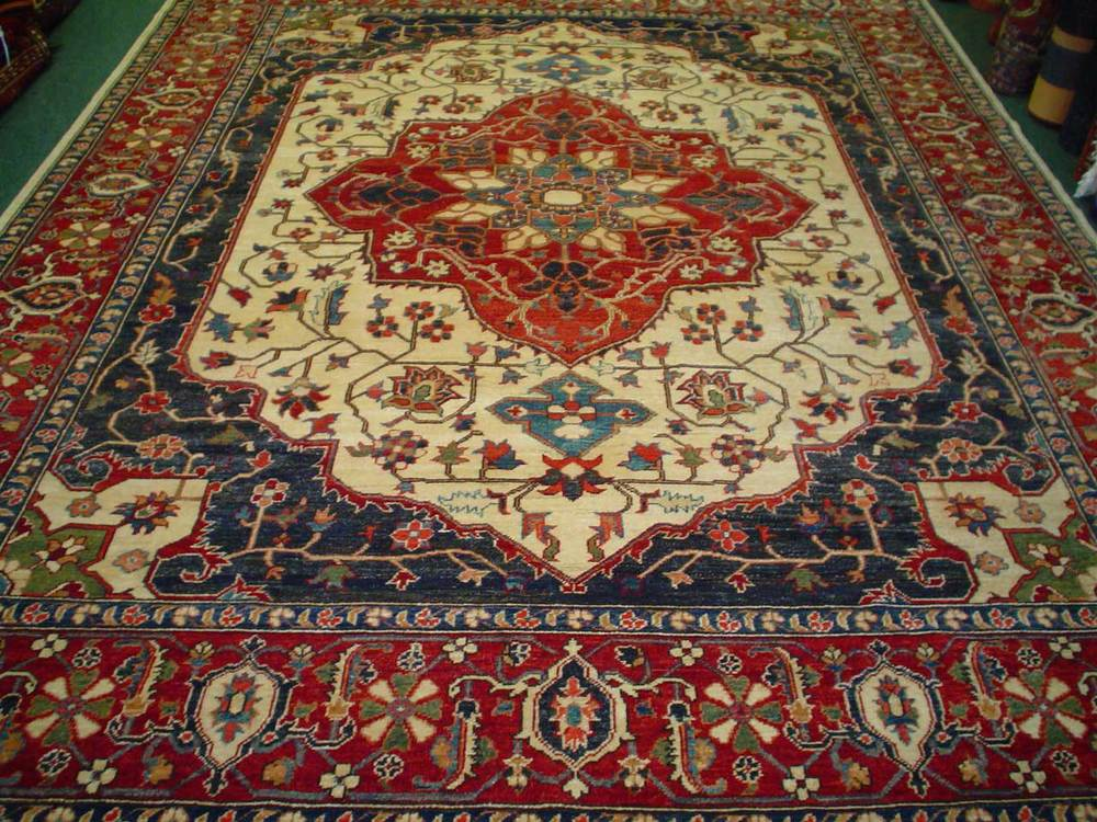 #28: 8 x 10 gorgeous Heriz rug. Afghanistan. Sold.