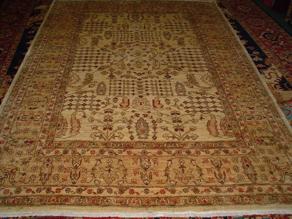 #46: 6 x 8 Ivory, beige overall floral rug with detailed design. Sold. New rug, antique design, woven in Afghanistan. Lovely rug!