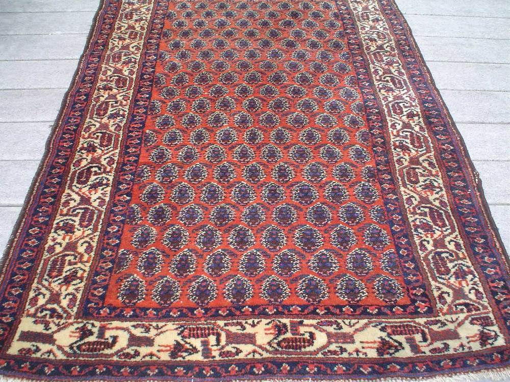 "#3) 3'5"" x 6'6"" Older Senna rug. Iran. Nice wool, pretty colors, traditional Senna boteh design in a sturdy rug."