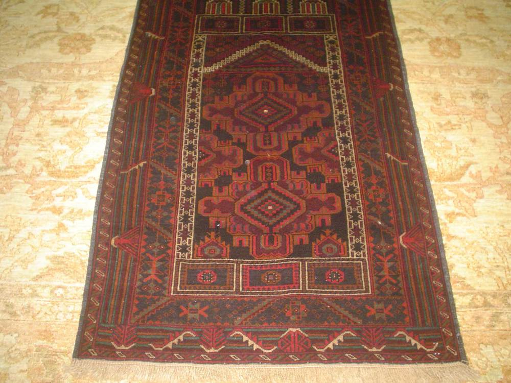 "#7) Small Balouch Prayer rug. 2'10"" x 4'6"""