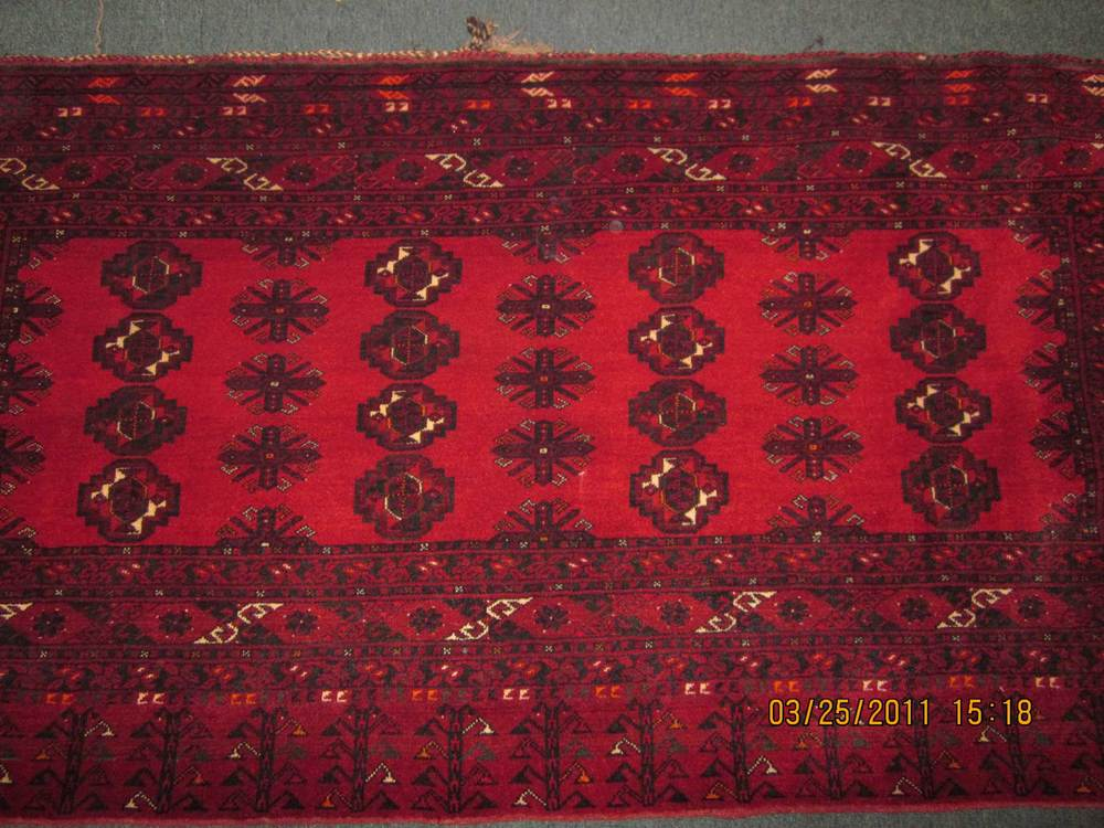 #10) Old Turkoman Chuval (very large pillow cover) Perfect condition with the full kilim backing. Gorgeous deep red and finely woven.