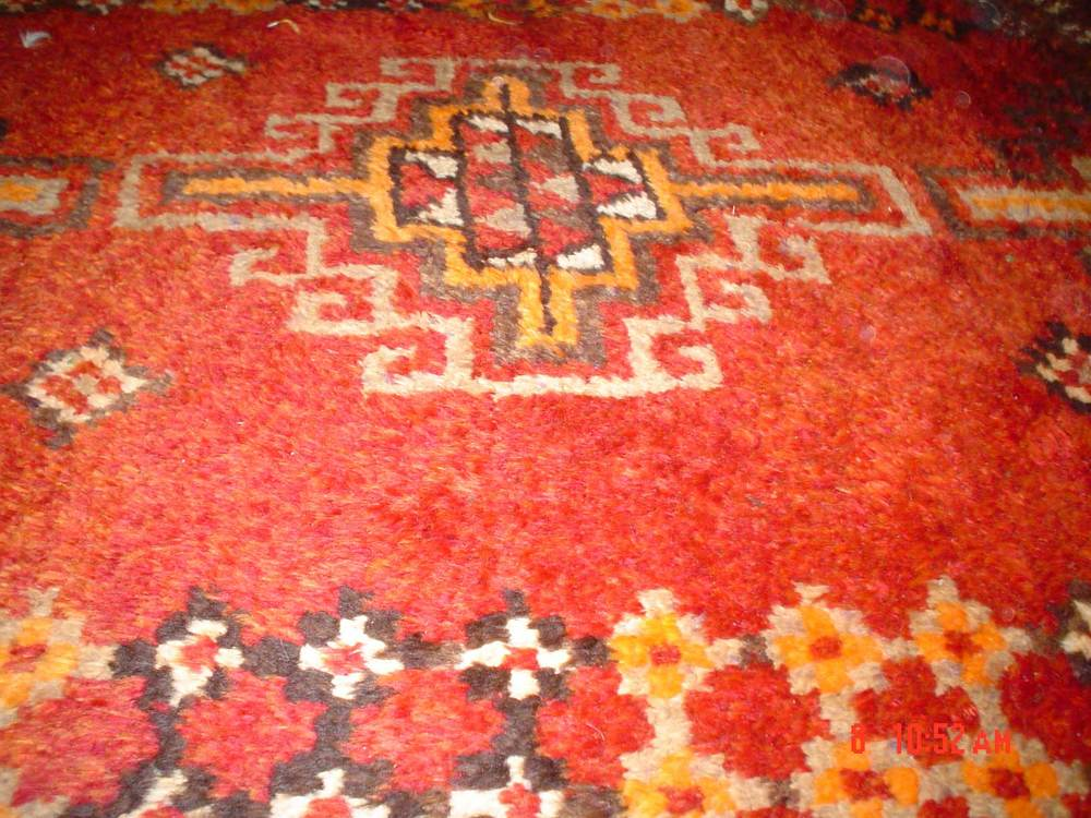 "#13) Old Uzbek Tribal rug, 5' x 9'7"" Great colors with lustrous wool."