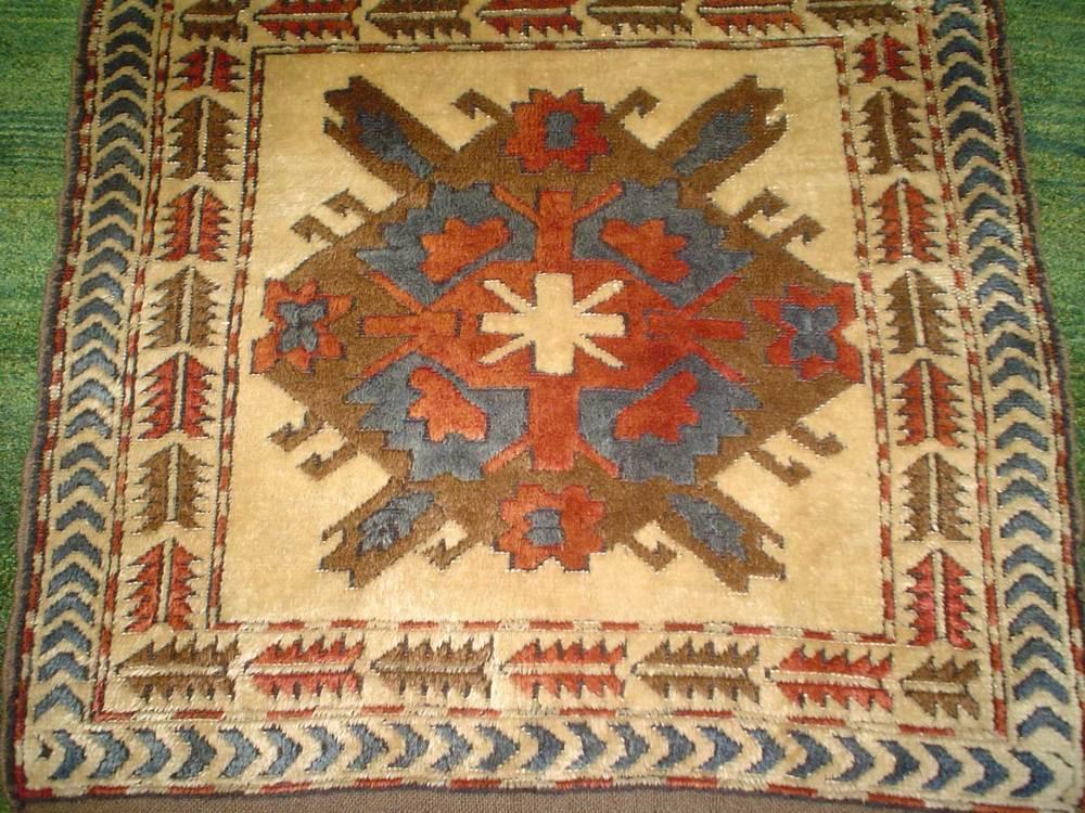 """#16) 3'3"""" x 3'3"""" Turkish Kars rug."""