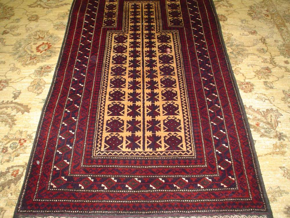 """#18) 2'8"""" x 4'11"""" Balouch Prayer rug, Afghanistan"""