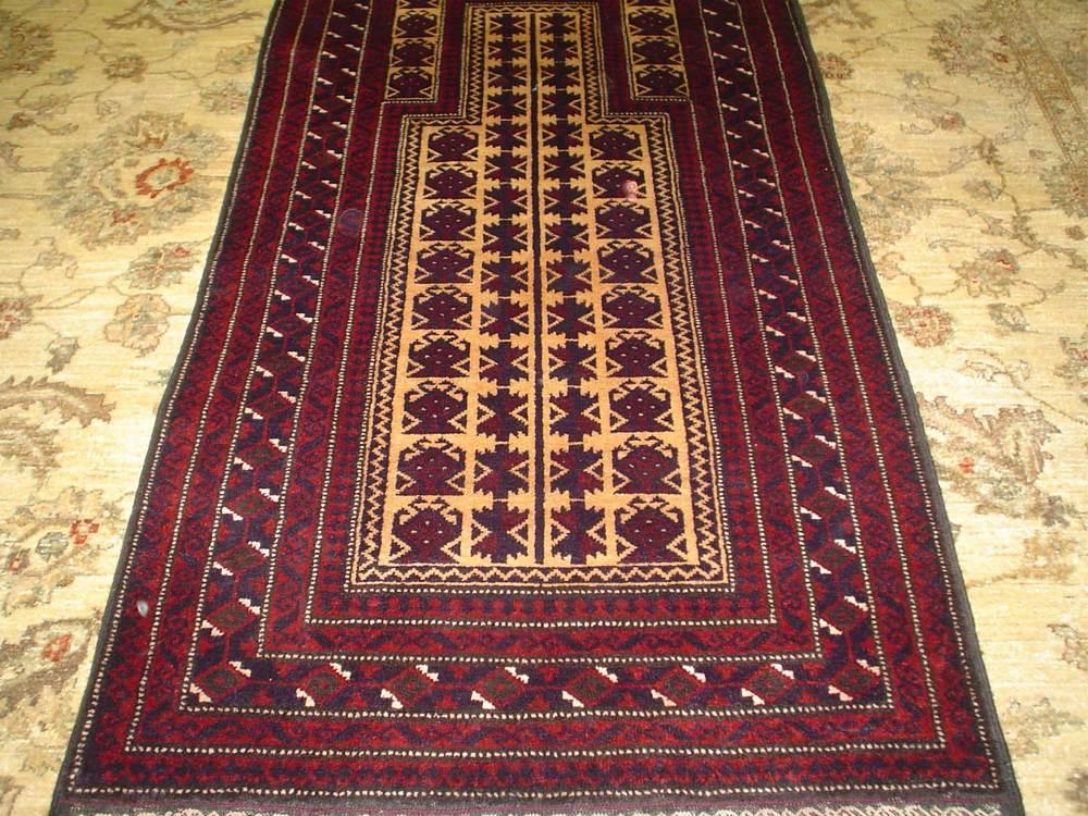 "#17) 2'8"" x 4'11"" Balouch Prayer rug, Afghanistan. Sold."