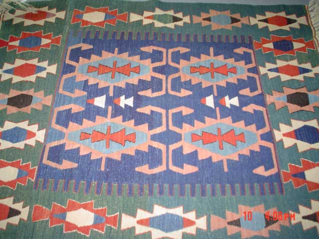 #22) 4 x 6 Turkish Kilim, veg dyes, hand-spun wool. Pretty piece.