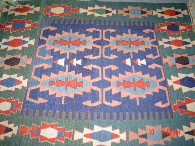 #22) 4 x 6 Turkish Kilim, veg dyes, hand-spun wool. Pretty piece.