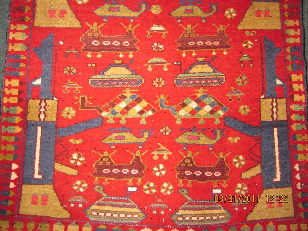 "#7) Afghan War Rug. 3'6"" x 5"" with AK-47's, tanks, bullets and helicopters!"