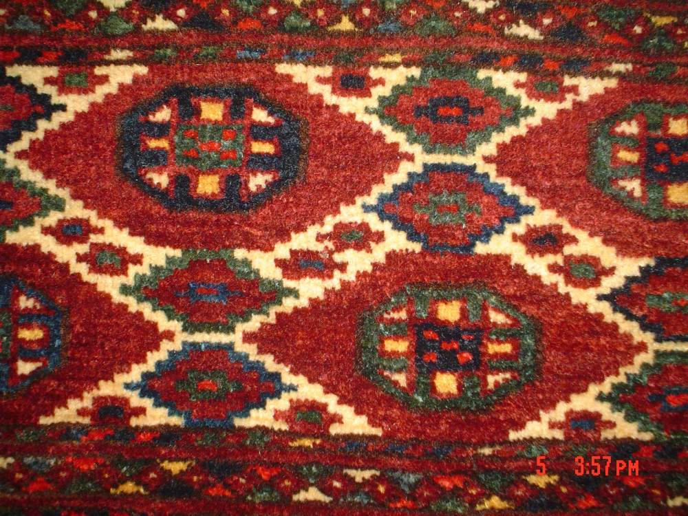 #19) Antique Turkoman Torba (storage bag) Full pile, deeply saturated colors. About 1' x 5'