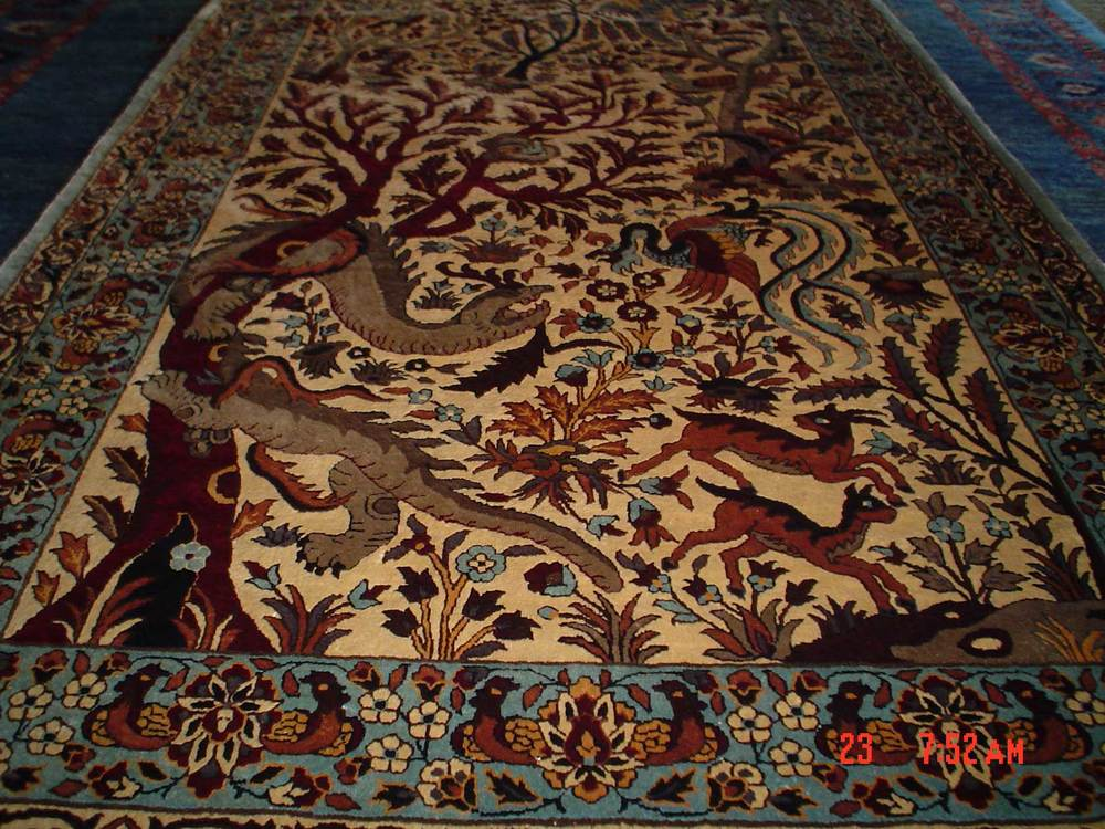 #8: 3 x 5 Tree of Life silk rug! Sold.