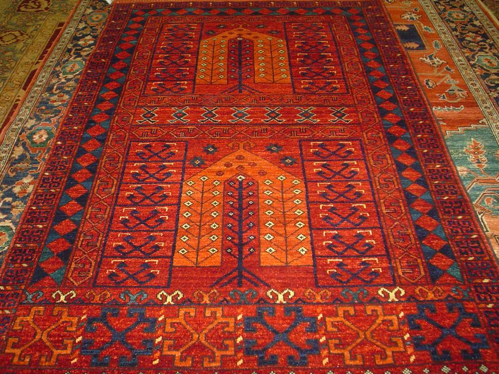 #24: 4 x 6 Ersari Turkoman rug in a double Prayer rug design. Sold.