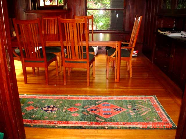 #31: Client's home in Berkeley, CA. One of six pieces purchased! Gorgeous green Qashqai runner.
