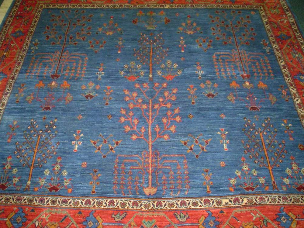 "#34: Gorgeous light blue Tree of Life tribal rug from Iran. 6' 7"" x 6' 5"" Khamseh or Khamsehbaf (baf means ""woven by"")"