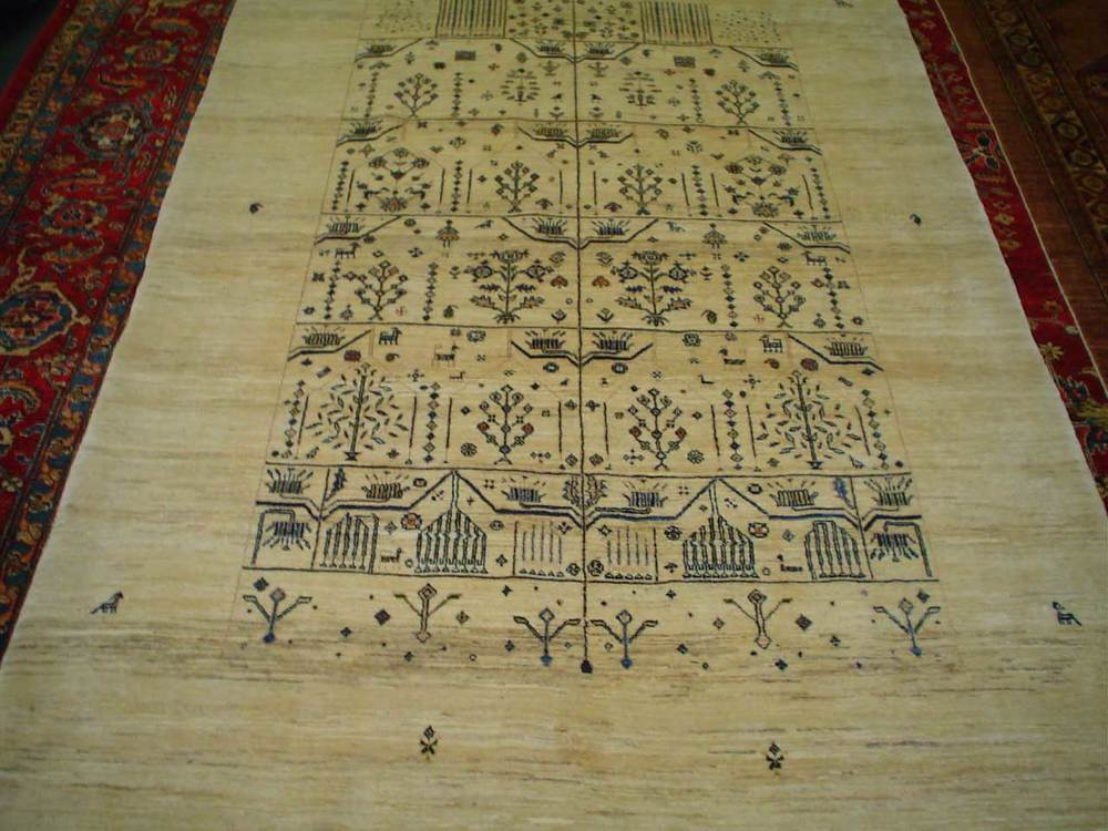 #39: 5 x 7 Amazing Ivory Gabbeh rug. Sold.