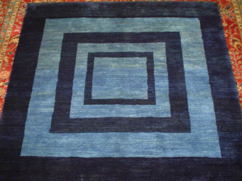 "#44: Persian Gabbeh in blues. 4'8"" x 5'2"". Sold."