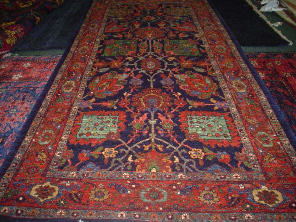 "#45: 2'8"" x 5'8"" Beautiful Bijar runner in jewel tones. New rug, antique design. Sold."