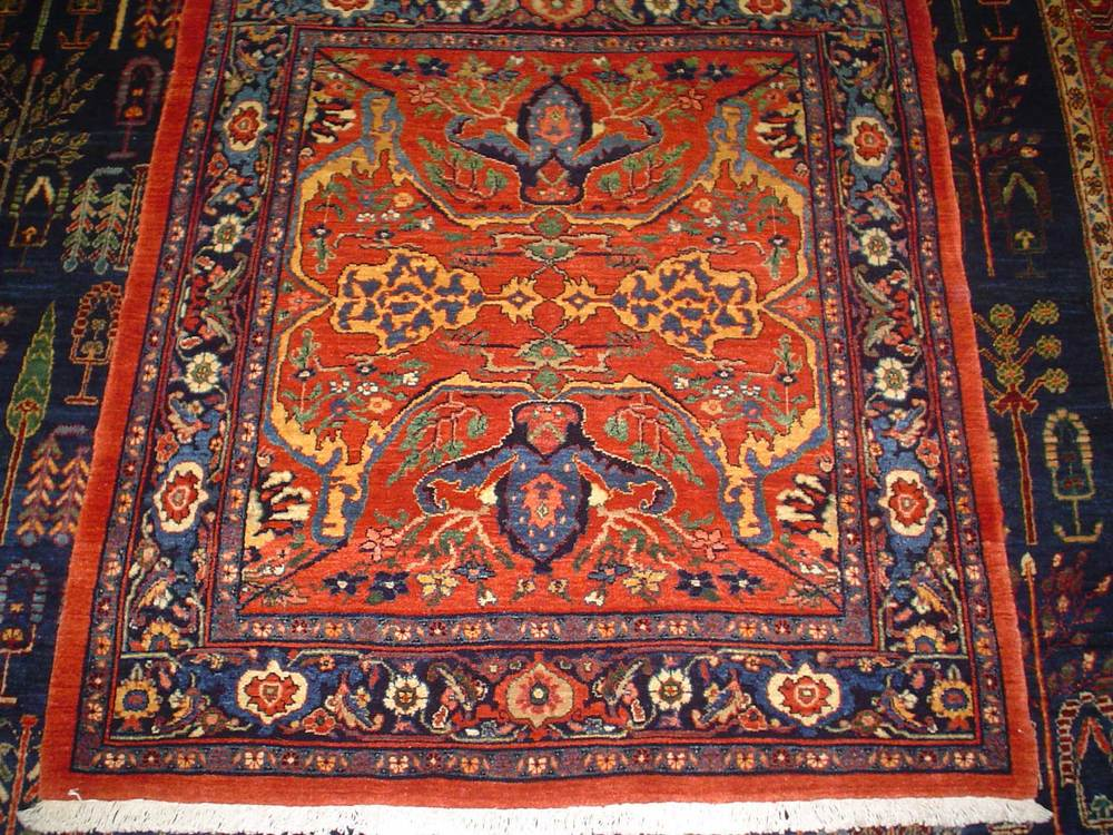 "#48: Incredibly beautiful Persian Garros Bijar. 3' 7"" by 4'  Deep, rust-red with multicolored accents. Sold."