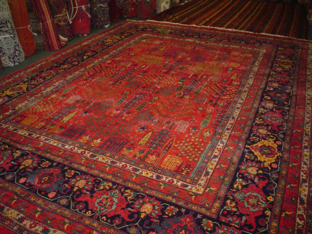 "#49: 10'3"" x 13'9"" Gorgeous Persian Bijar from Iran. Woven with plant based dyes and hand spun Persian wool, this piece is nothing less than spectacular! Sold."