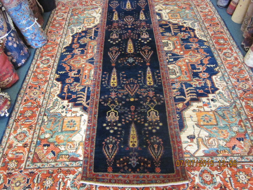 "#21) Beautiful navy blue Persian Luri runner. 2'7"" x 9'5""."