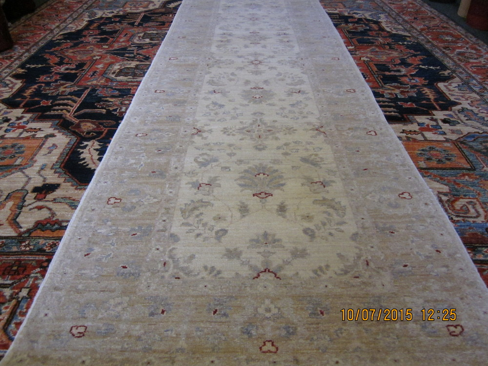 #25) Pleasant and beautiful 11 ft runner in soft ivory with light grey-blue accents. Afghanistan.